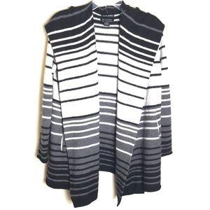 Cynthia Rowley Striped Merino Wool Hooded Cardigan